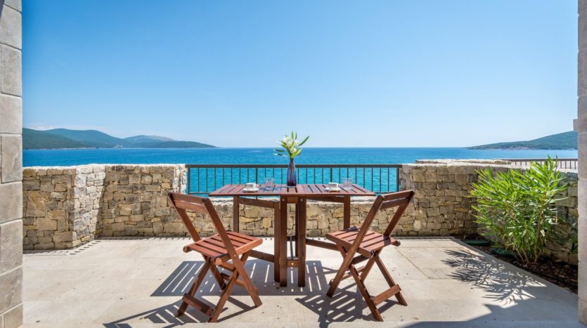 lustica bay terrace open sea view